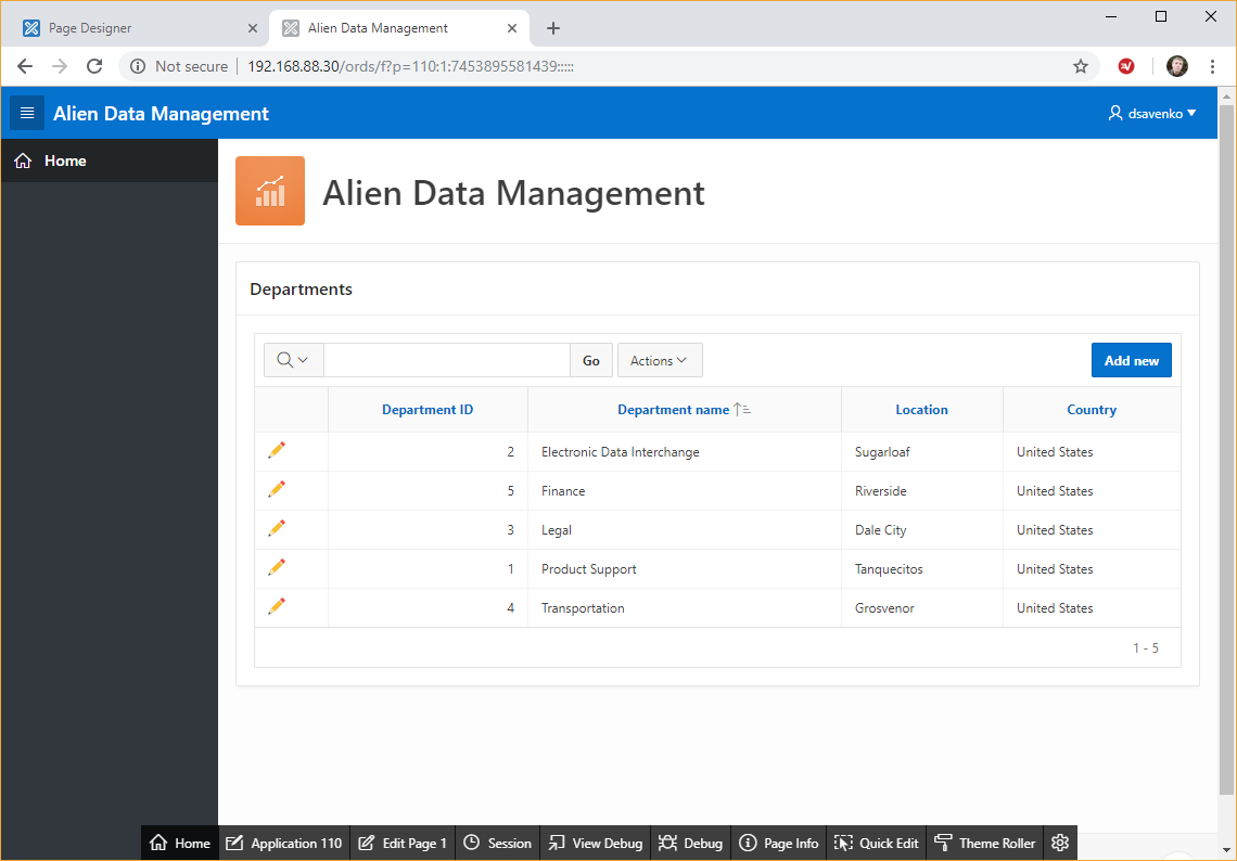 Alien Data Management application, test 1