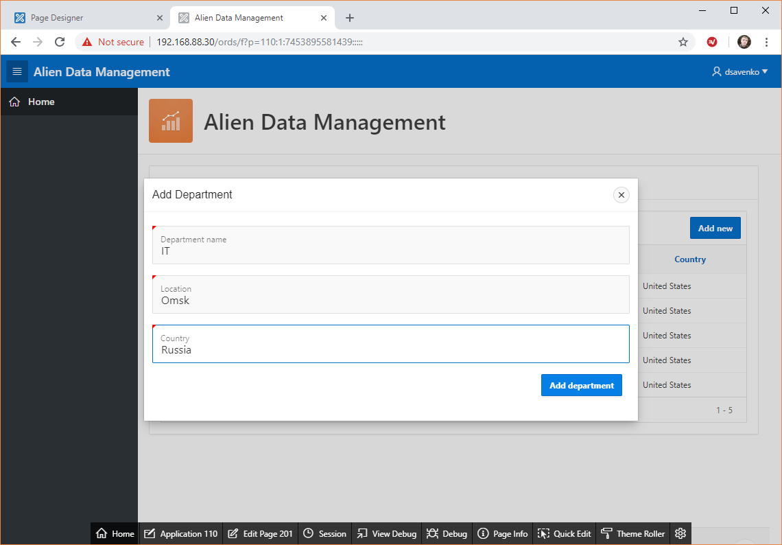 Alien Data Management application, test 2