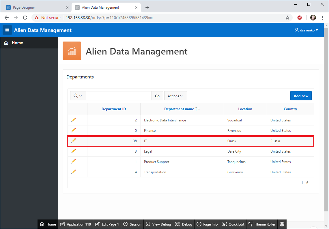 Alien Data Management application, test 3