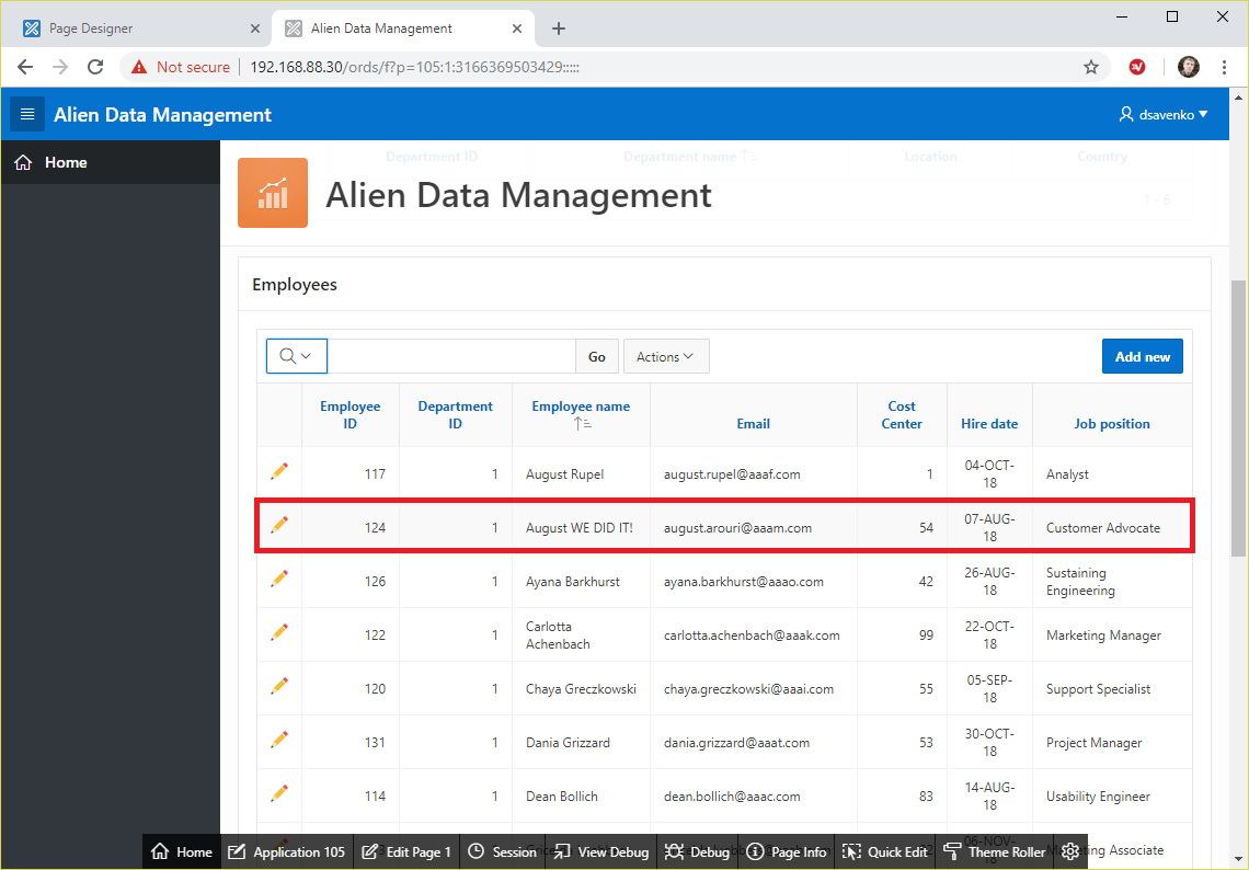 Alien Data Management application, test 6