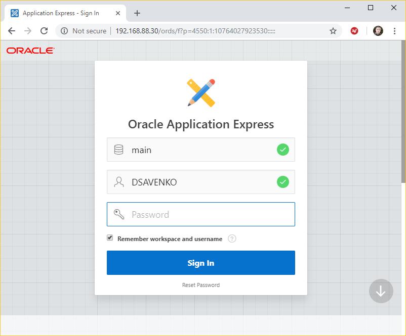 APEX login screen